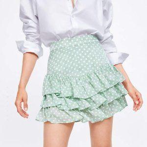 Zara Polka Dot Ruffle Mini Skirt Skort Green